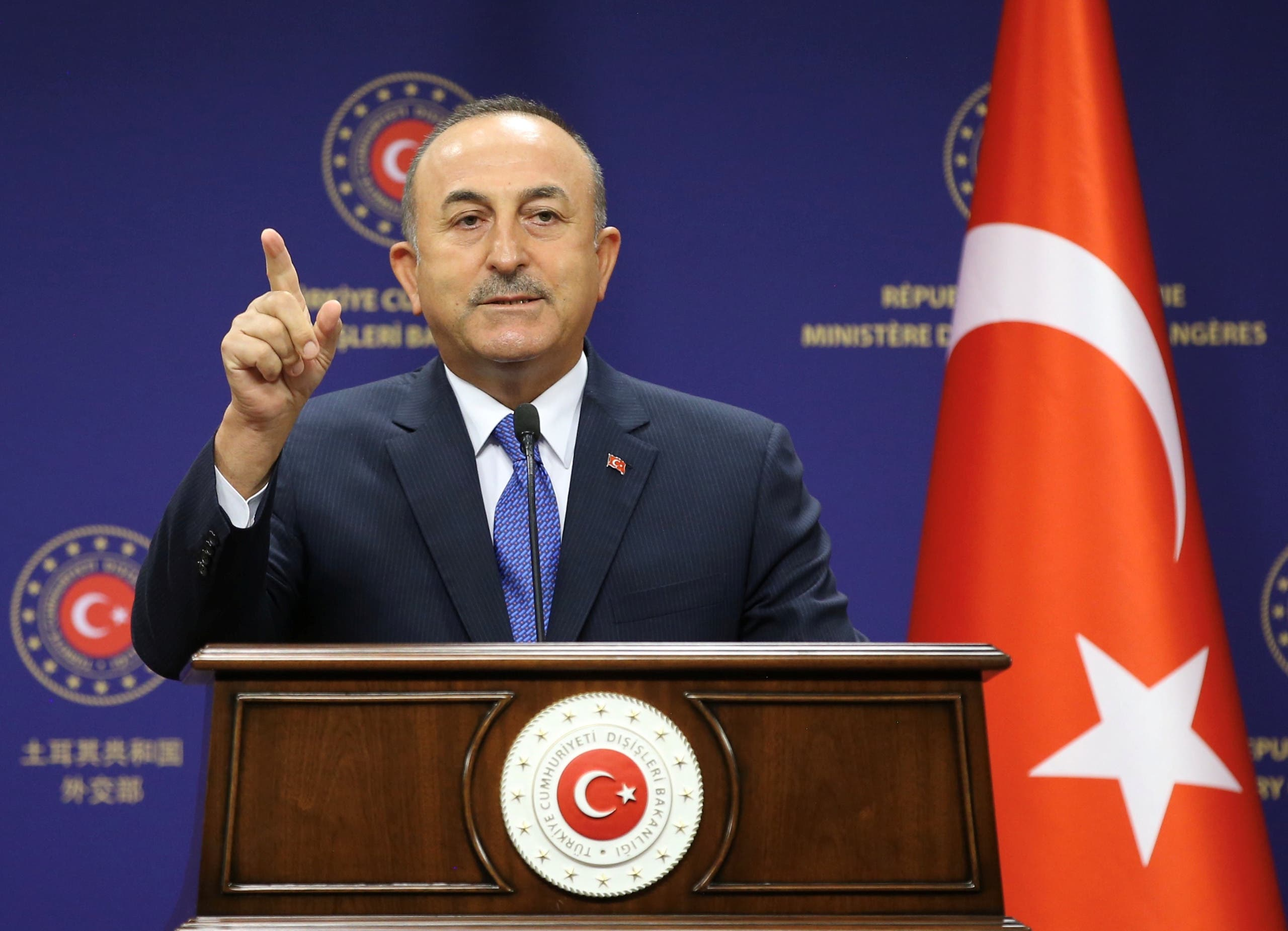 Turkish Foreign Minister Mevlut Cavusoglu attends a press conference in Ankara, Turkey, on August 25, 2020. (Reuters)