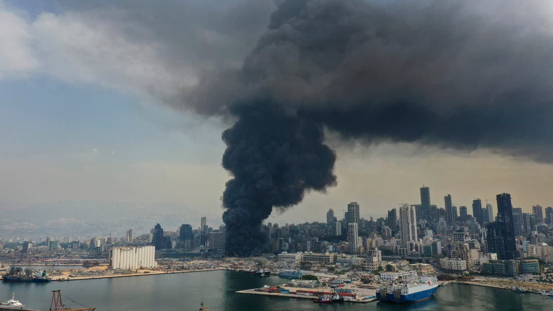 Black smoke rises from a fire at the seaport in Beirut on Sept. 10. 2020. (AP)