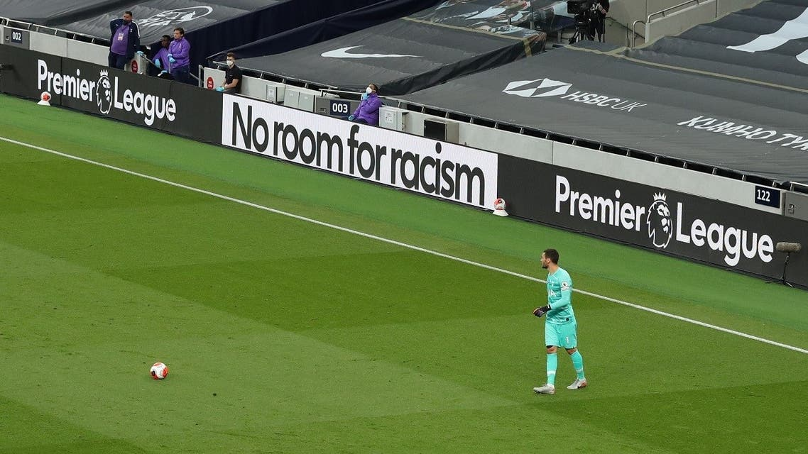 General view of 'No Room for Racism' messages during the match, as play resumes behind closed doors following the outbreak of the coronavirus disease (COVID-19). (Reuters)