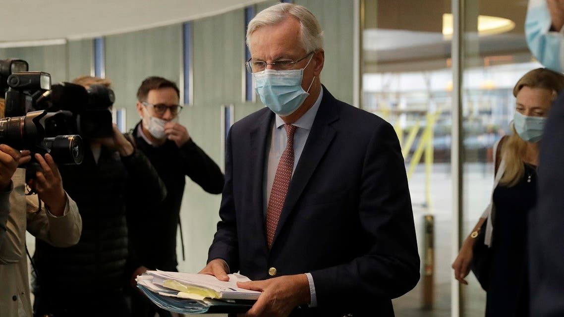 EU Chief negotiator Michel Barnier leaves his hotel in London, Thursday, Sept. 10, 2020. UK and EU officials have their eighth round of Brexit negotiations in London. (AP)