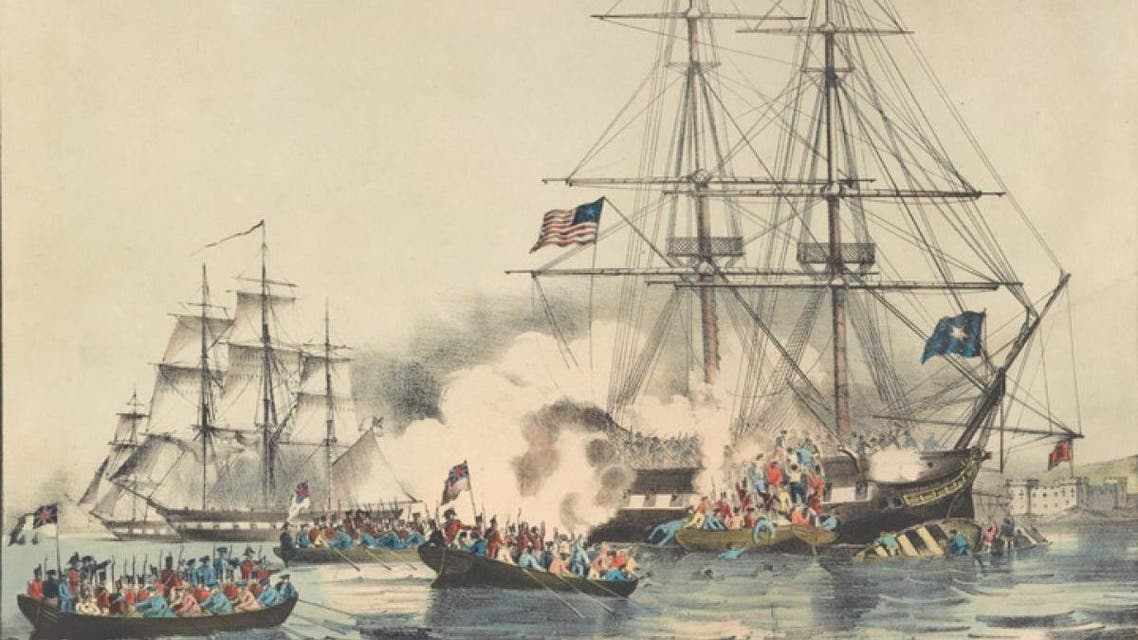 لوحة تجسد معركة بين سفن بريطانية وأخرى تابعة لقراصنة أميركيين