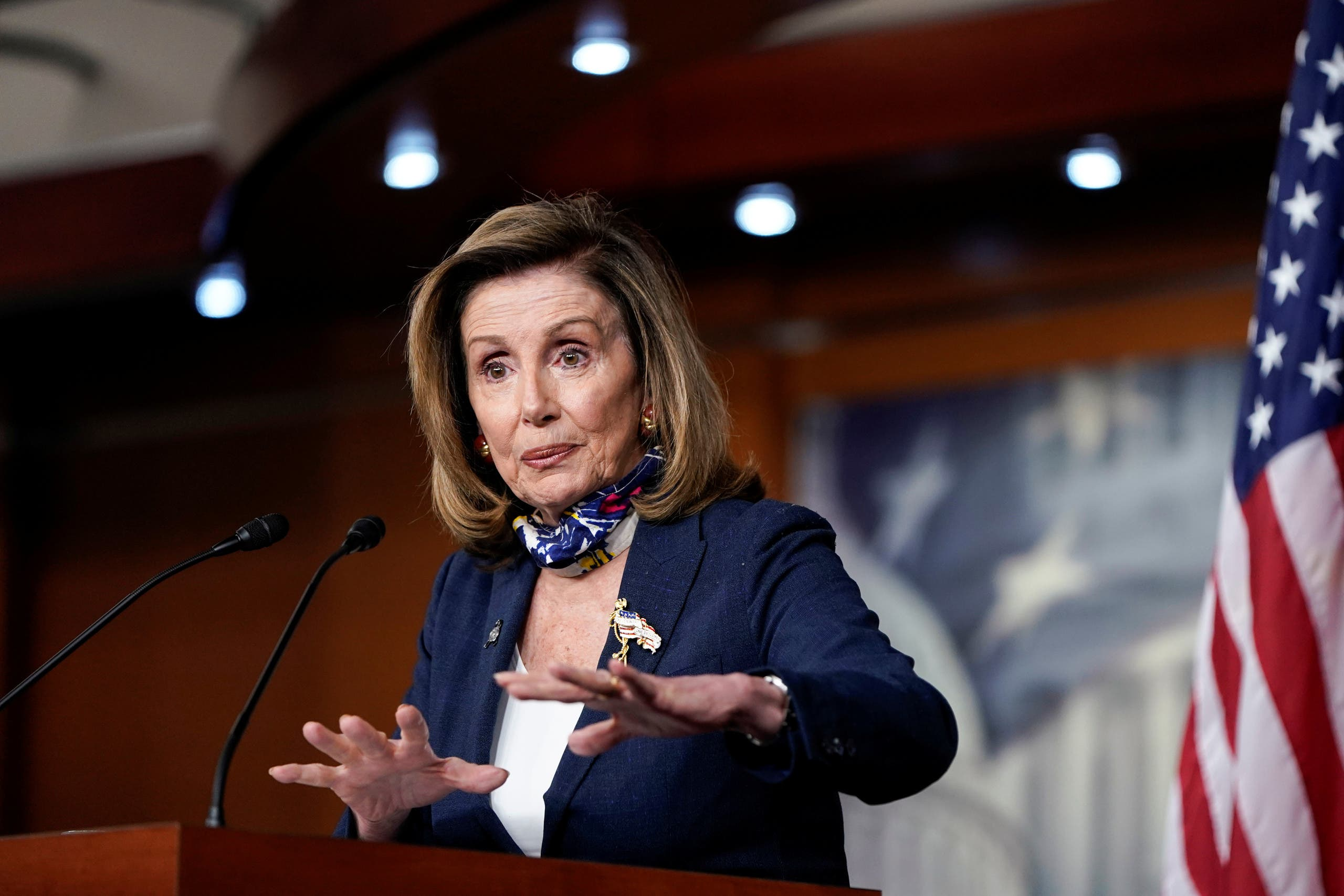 Pelosi speaks during a briefing to the media on Capitol Hill in Washington, US, September 10, 2020. (Reuters)