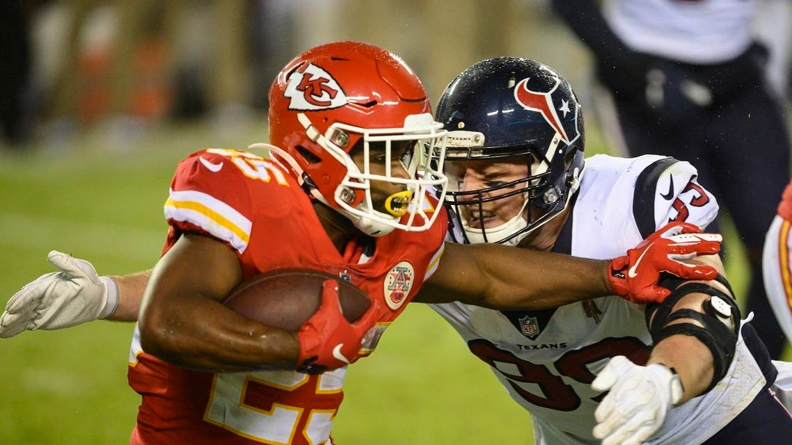 Houston Texans defensive end J.J. Watt (99) tries to tackle Kansas City Chiefs running back Clyde Edwards-Helaire (25) during an NFL football game. (AP)