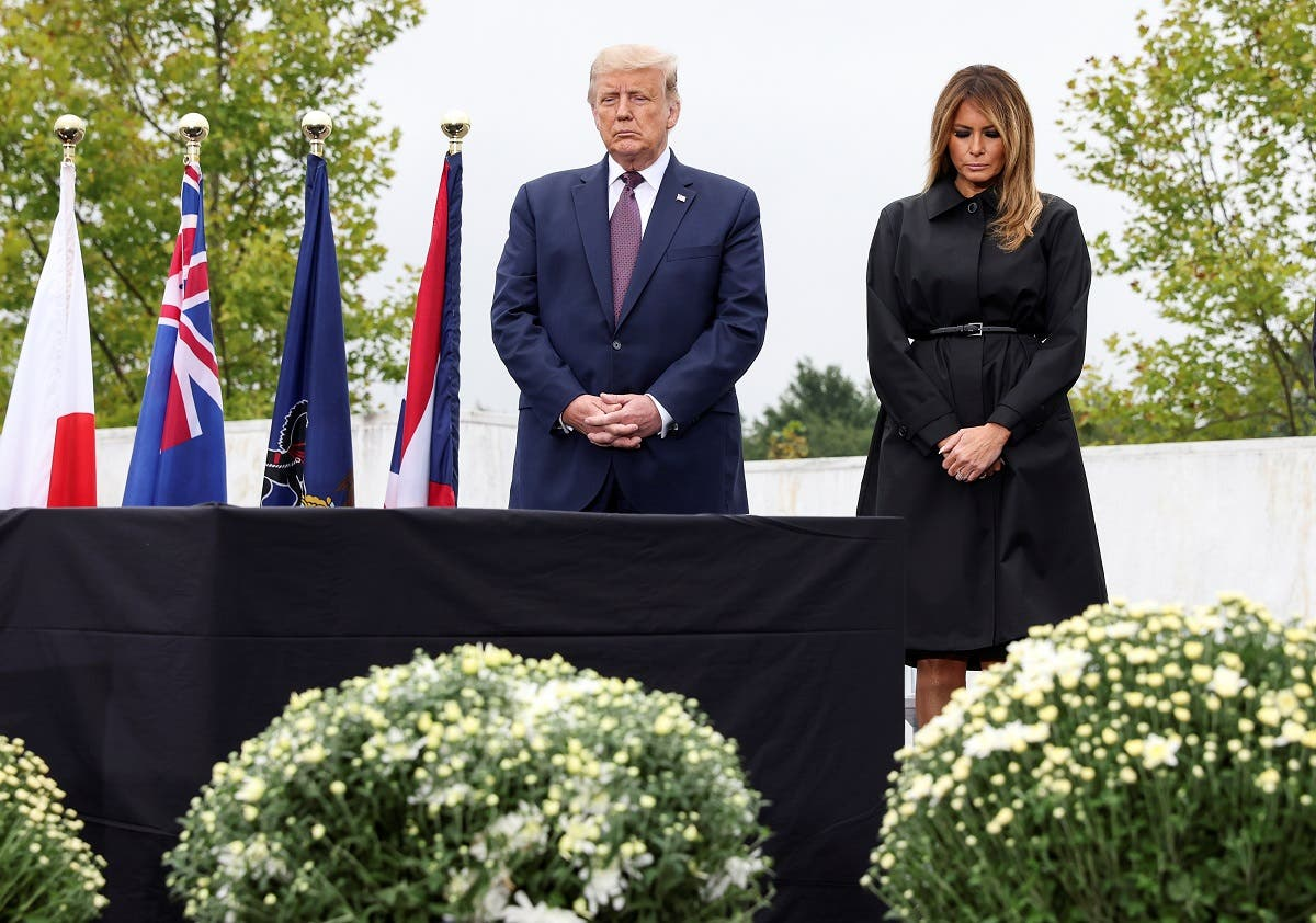 President Donald Trump and first lady Melania Trump attend a ceremony at the National Memorial, in Stoystown, Pennsylvania, on September 11, 2020. (Reuters)