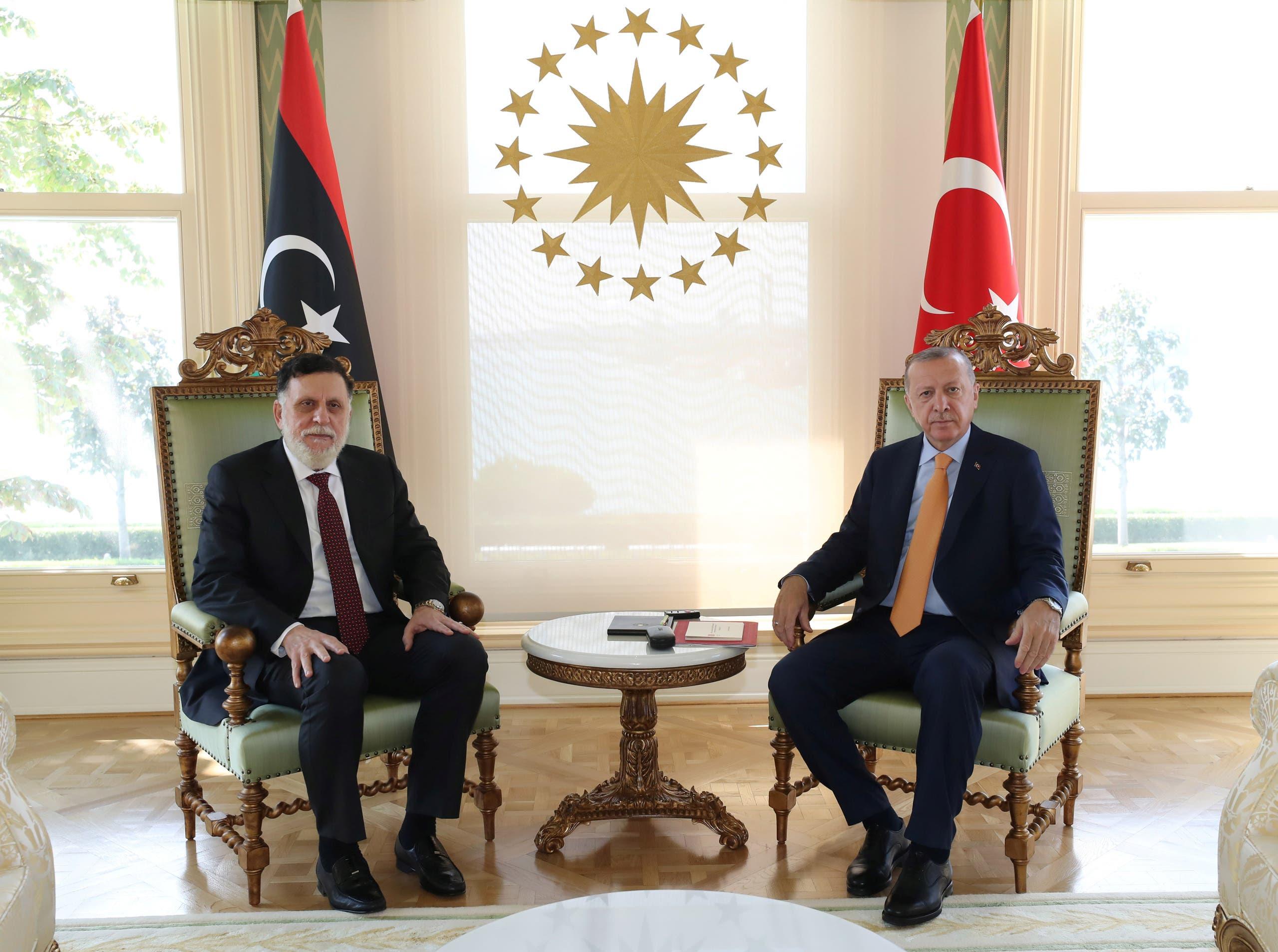Turkey's President Tayyip Erdogan meets with Libya's internationally recognised Prime Minister Fayez al-Sarraj in Istanbul, Turkey, September 6, 2020. (Reuters)