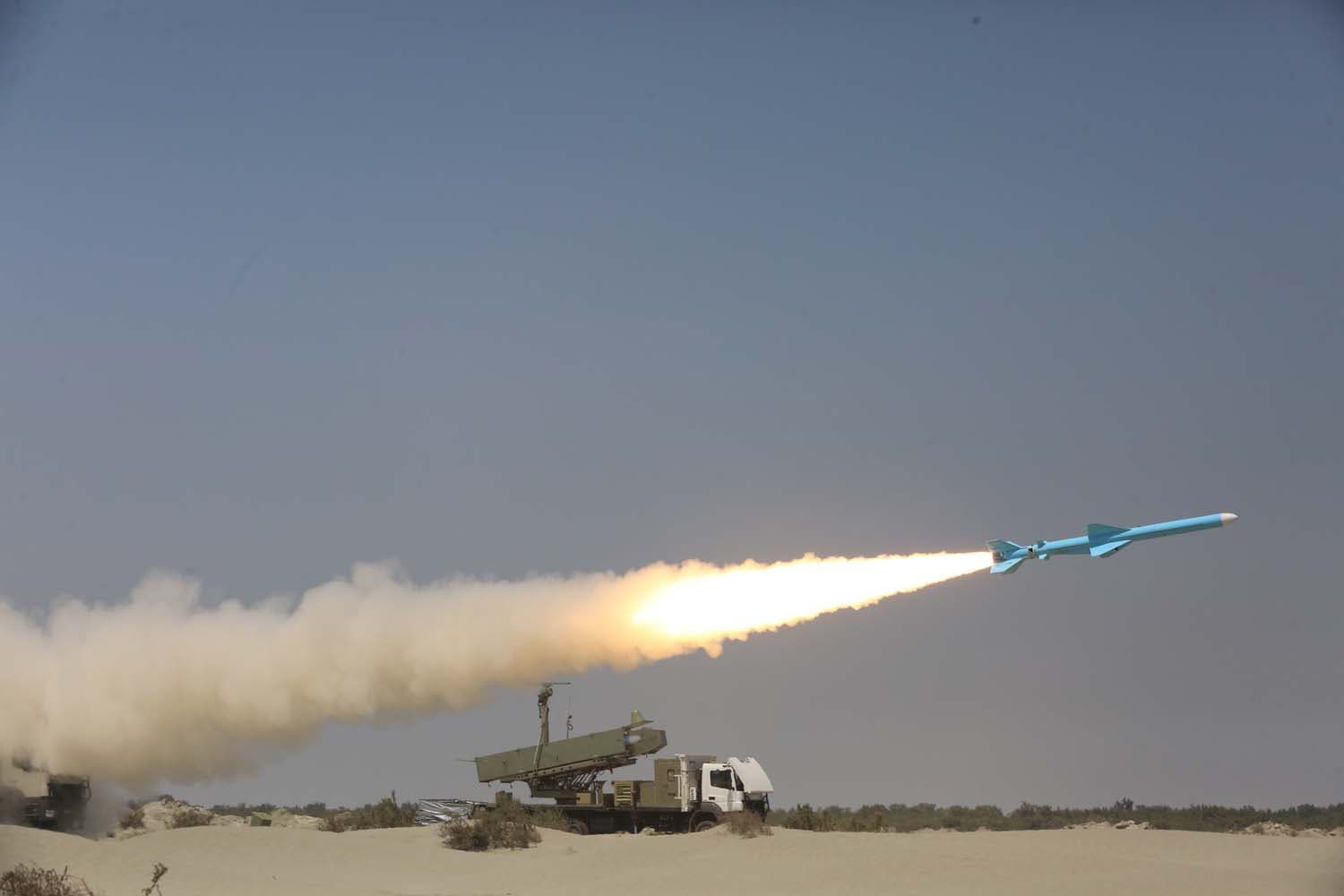 An Iranian Ghader missile being fired during the second day of a military exercise in the Gulf, near the strategic strait of Hormuz in southern Iran. (AFP)