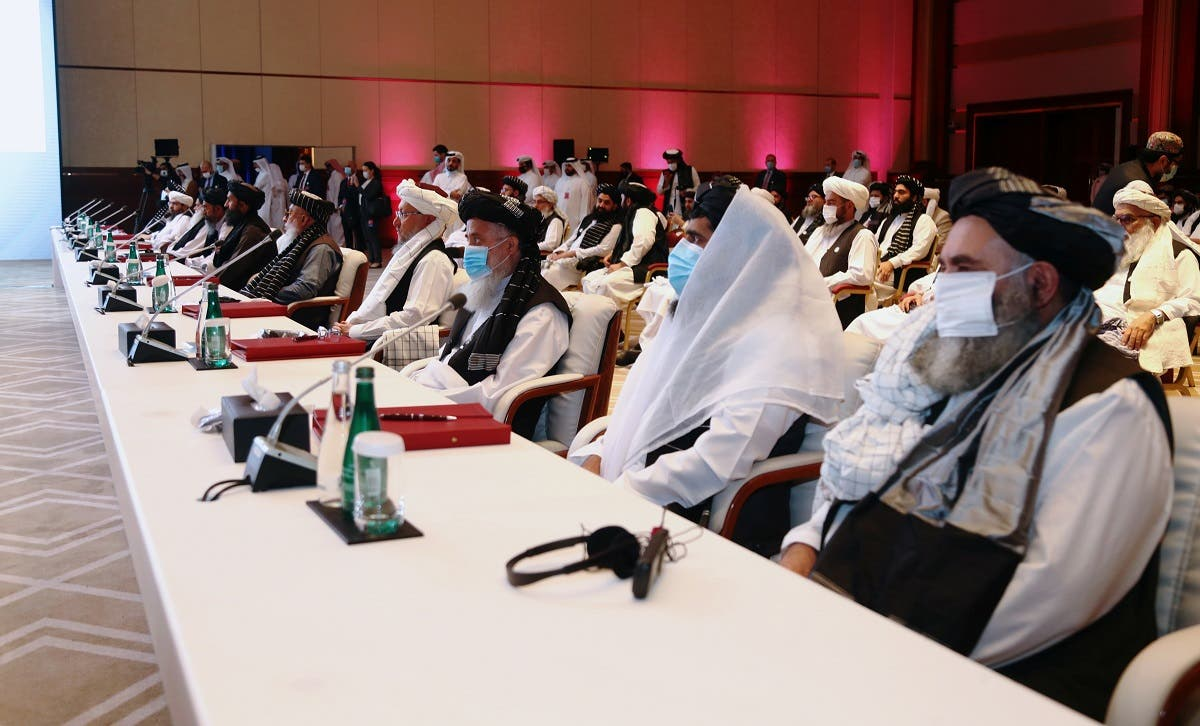 Delegates attend talks between the Afghan government and Taliban insurgents in Doha, Qatar September 12, 2020. (Reuters)