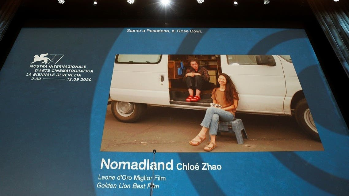 """Director Chloe Zhao of """"Nomadland"""" with Frances McDormand. (Reuters)"""