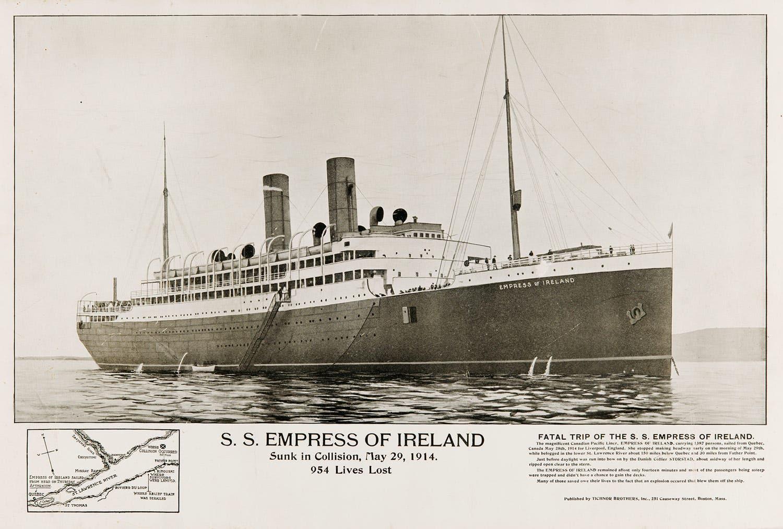 صورة لإعلان غرق السفينة أر أم أس إمبراطورة ايرلندا