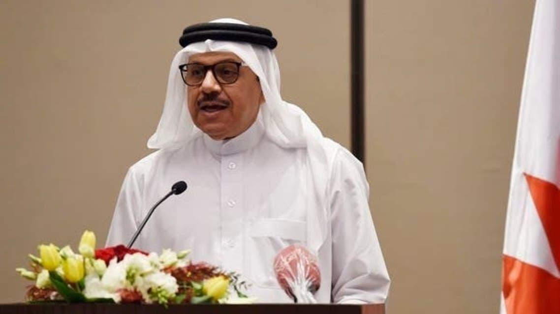 Bahrain Foreign Minister Abdullatif bin Rashid Al-Zayani speaks during a press conference. (AFP)