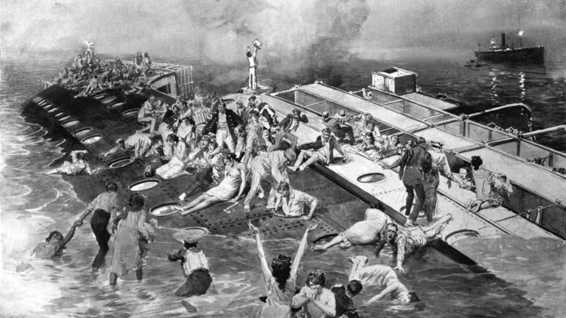 رسم يجسد عدد من الركاب اثناء محاولتهم النجاة عقب الكارثة