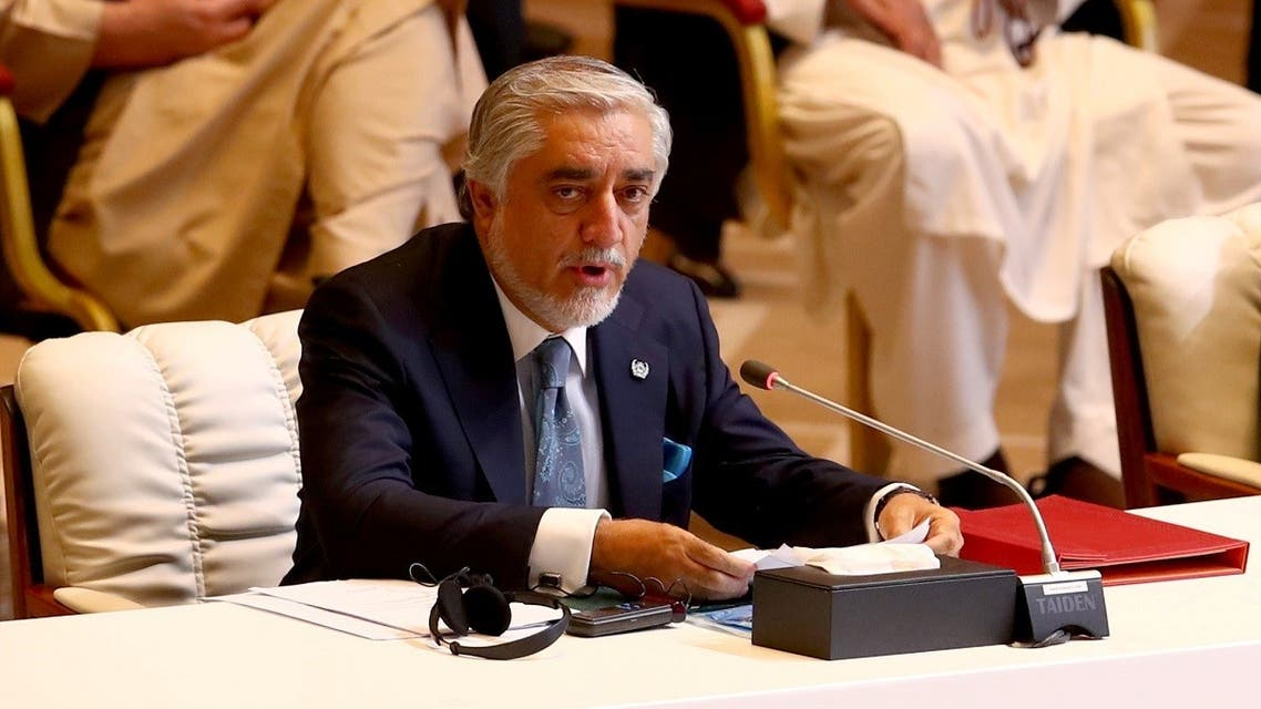 Chairman of the High Council for National Reconciliation Abdullah Abdullah speaks during opening remarks for talks between the Afghan government and Taliban insurgents in Doha, Qatar September 12, 2020. REUTERS
