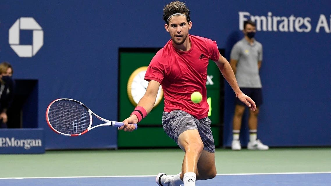 Dominic Thiem of Austria hits a forehand against Daniil Medvedev of Russia (not pictured) in a men's singles semi-finals of the 2020 US Open tennis tournament at Flushing Meadows, New York, USA, on September 11, 2020. (Reuters)