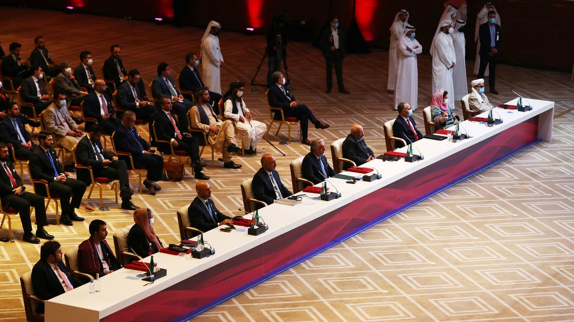 Delegates are seen before talks between the Afghan government and Taliban insurgents in Doha, Qatar September 12, 2020. REUTERS/Ibraheem al Omari