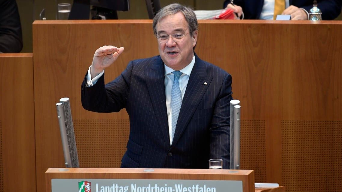 Armin Laschet, State Prime Minister of North Rine-Westphalia, speaks in the plenum of the state parliament in Duesseldorf, western Germany on June 24, 2020. (AFP)