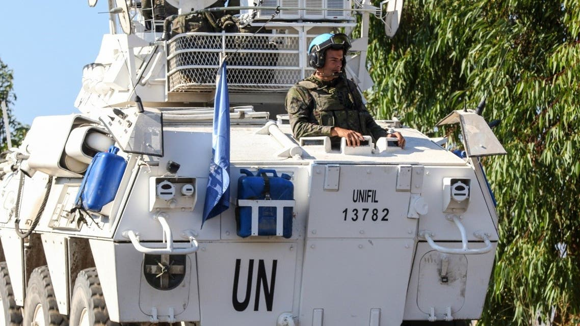United Nations peacekeeping force (UNIFIL) patrol near the village of Mais el Jabal, along the southern Lebanese border with Israel on August 26, 2020. (AFP)
