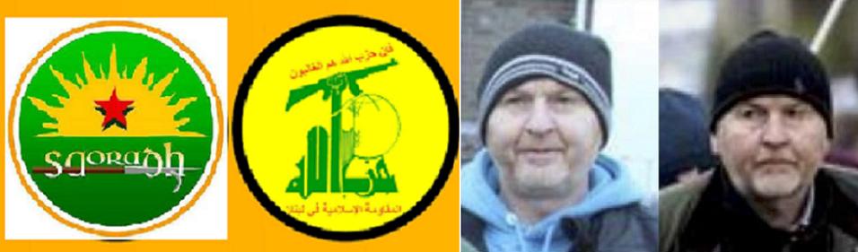 صورتان لماكفادن، وثانية للشبه بين ألوان علم حزب الله وألوان شعار الجناح السياسي للجيش الايرلندي الجمهوري الجديد