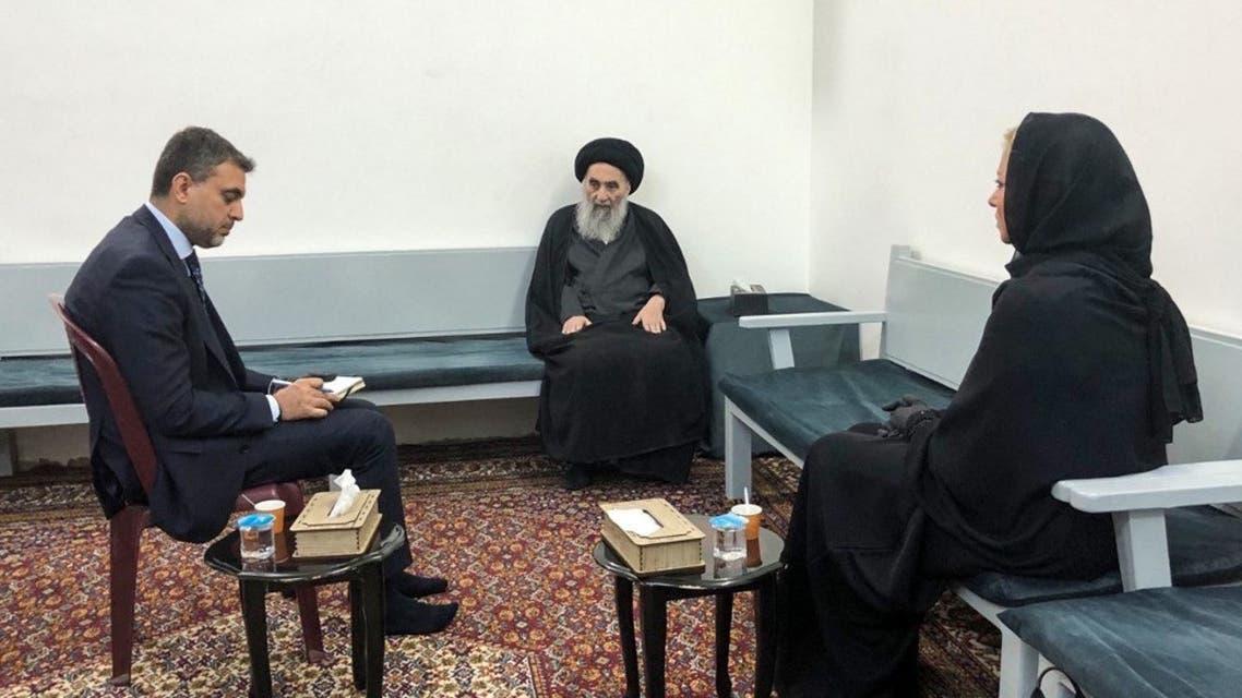 علي السيستاني أثناء لقاءه  مبعوثة الأمين العام للأمم المتحدة في العراق جينين هينيس-بلاسخارت