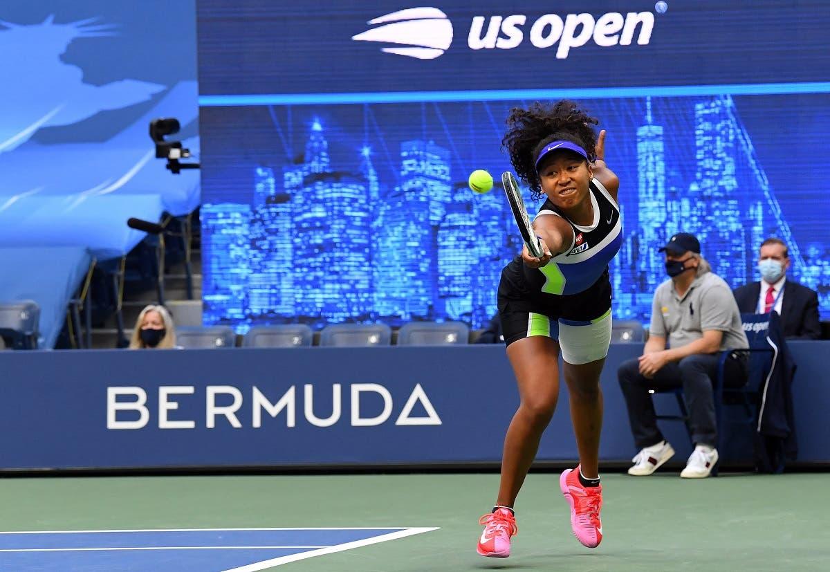 Naomi Osaka of Japan taps rackets with Victoria Azarenka of Belarus in the women's singles final match on day 13 of the 2020 U.S. Open tennis tournament at USTA Billie Jean King National Tennis Center. (Robert Deutsch/USA TODAY Sports)
