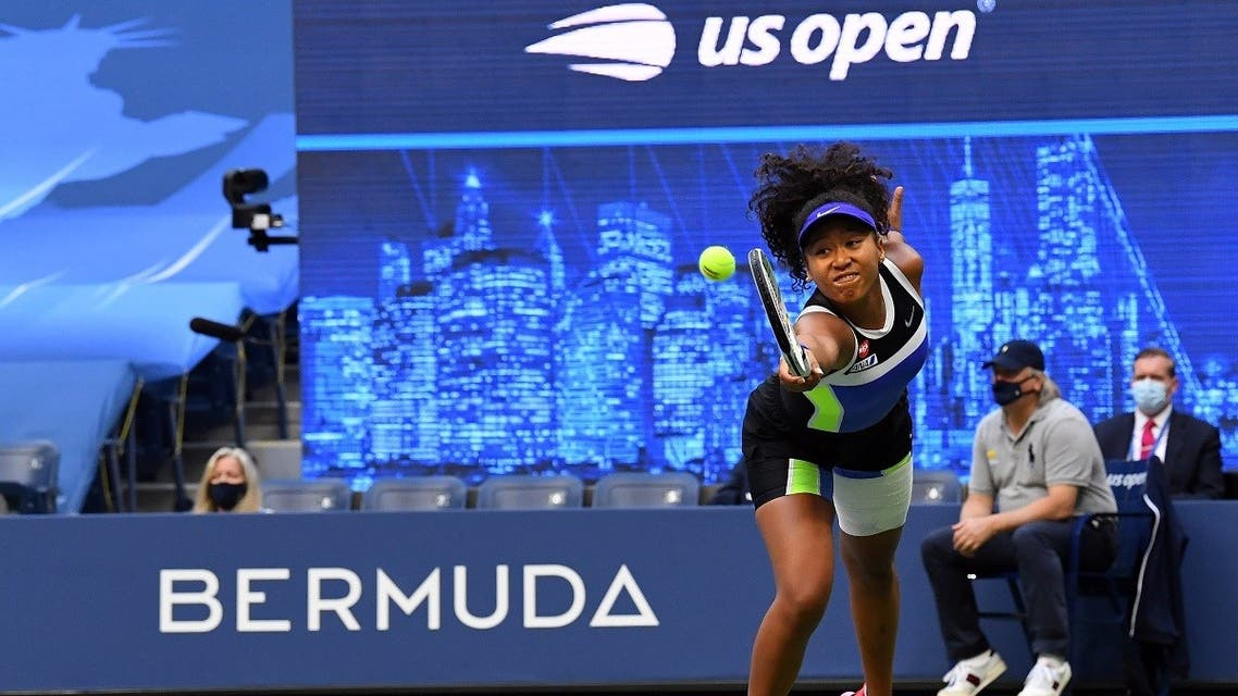 Naomi Osaka of Japan hits the ball against Victoria Azarenka of Belarus in the women's singles final match. (Reuters)