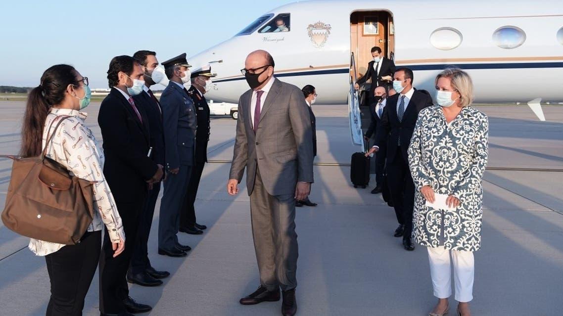 Bahrain's Minister of Foreign Affairs Abdullatif al-Zayani arrives in Washington. (Twitter)