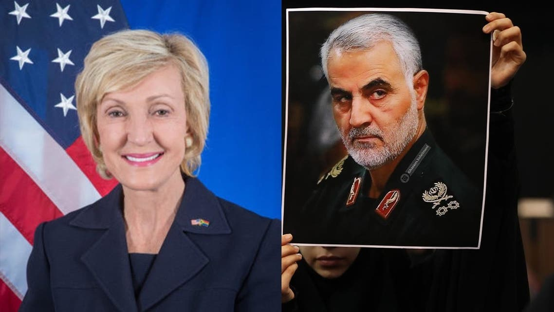 US Ambassador Lana Marks, left, and a photo of late Iranian military commander Qassem Soleimani, right.