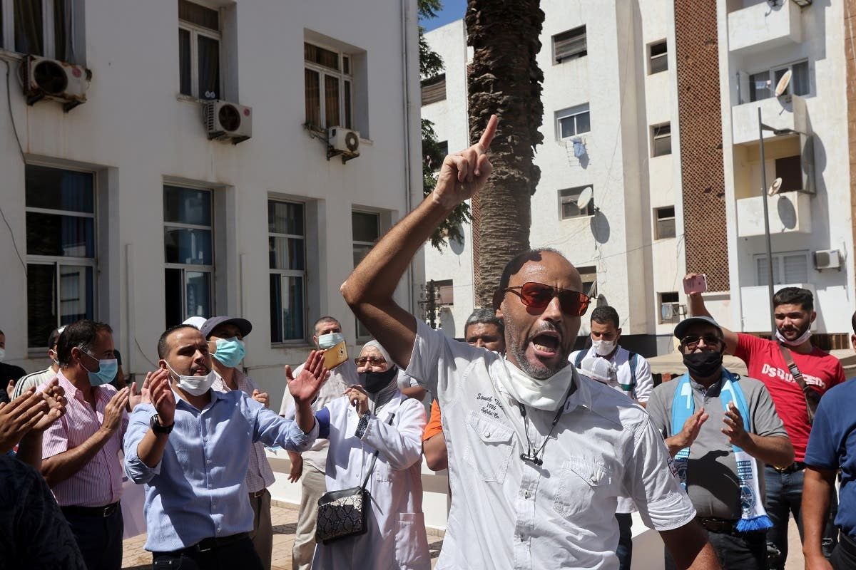 Medical staff protest for higher pay and better working conditions in Rabat, Morocco September 10, 2020. (Reuters)