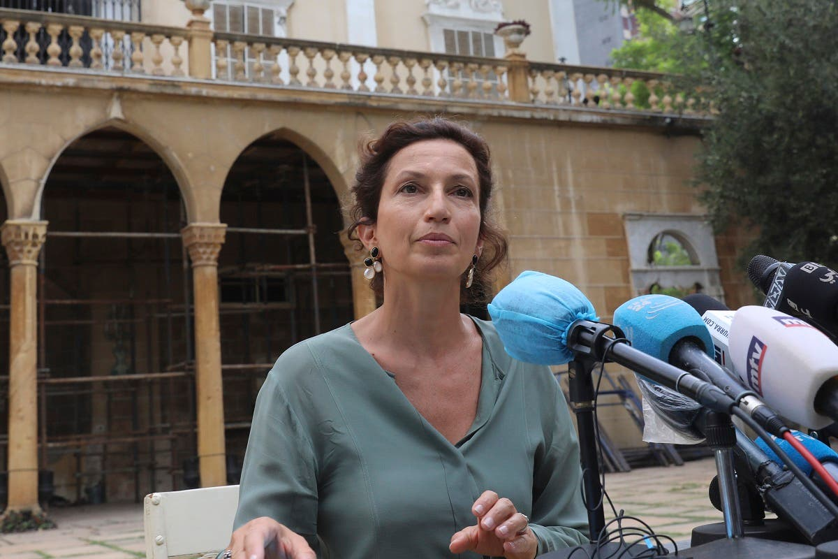 UNESCO Director-General Audrey Azoulay speaks during a press conference at Sursock Palace which was damaged by the colossal explosion at the port, in Lebanon's capital Beirut on August 27, 2020. (AFP)