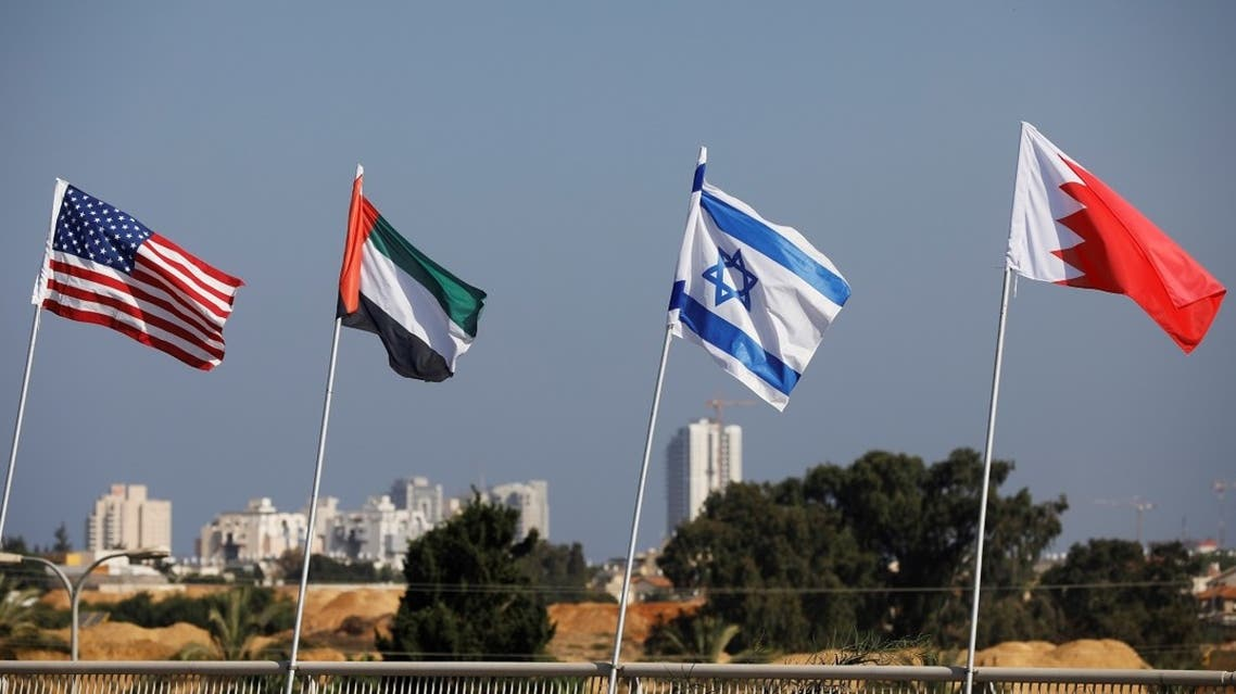 The flags of the US, United Arab Emirates, Israel and Bahrain flutter along a road in Netanya, Israel Sept. 14, 2020. (Reuters)