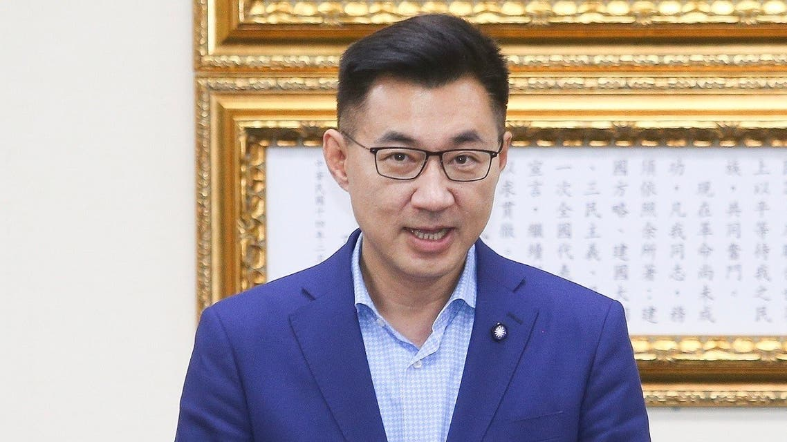 This handout picture taken and released by CNA on March 7, 2020 shows Johnny Chiang, newly elected chairman of Taiwan's main opposition Kuomintang (KMT), speaking after winning the KMT's chairman elections in Taipei. (AFP/CNA)