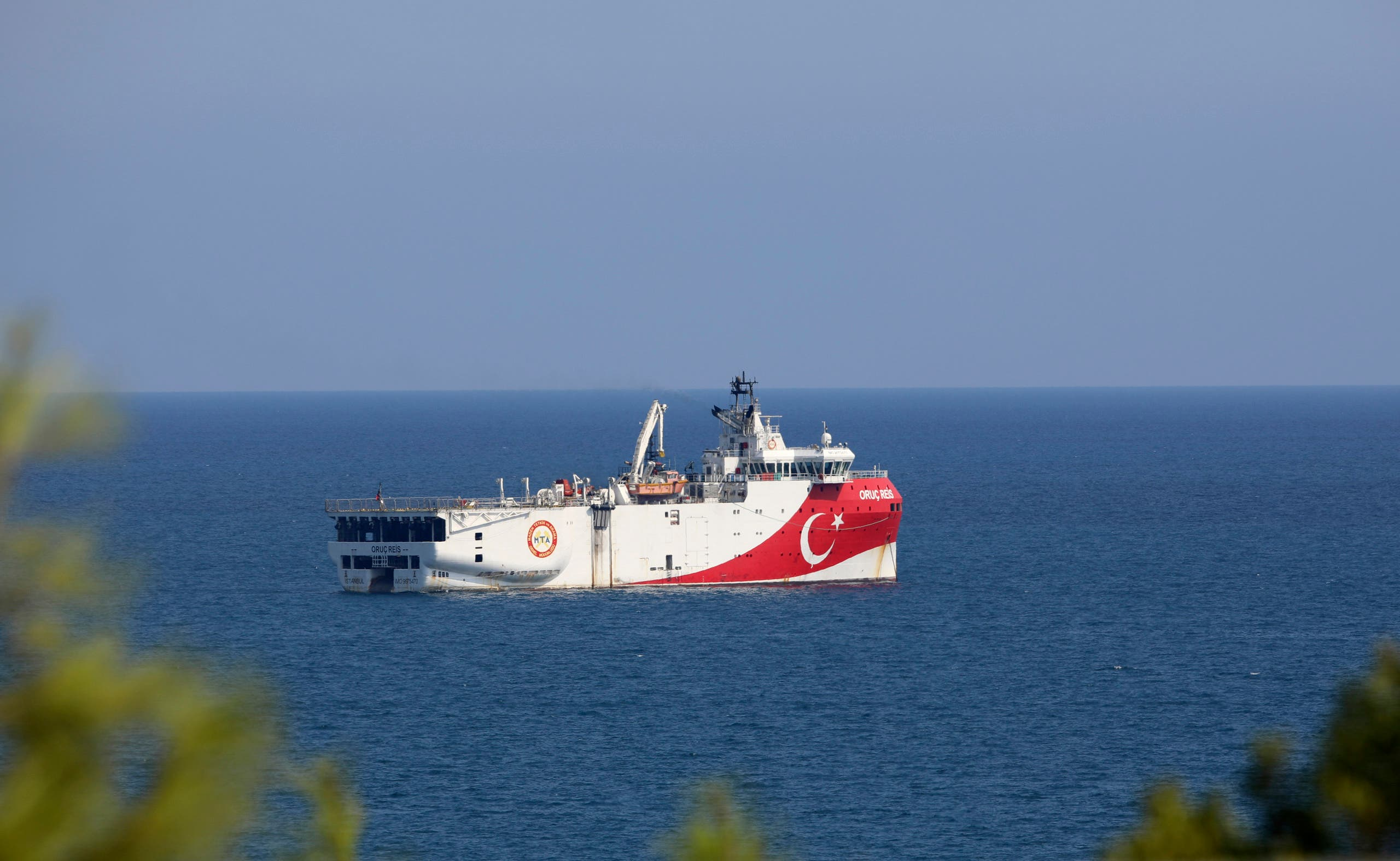 Turkey's research vessel, Oruc Reis anchored off the coast of Antalya on the Mediterranean, Turkey, September 13, 2020. (AP/Burhan Ozbilici)