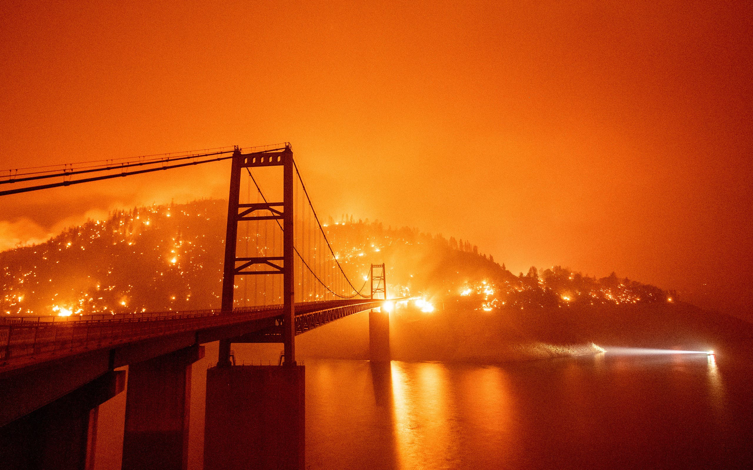Californian wild fires paint the sky orange in the US. (AFP)