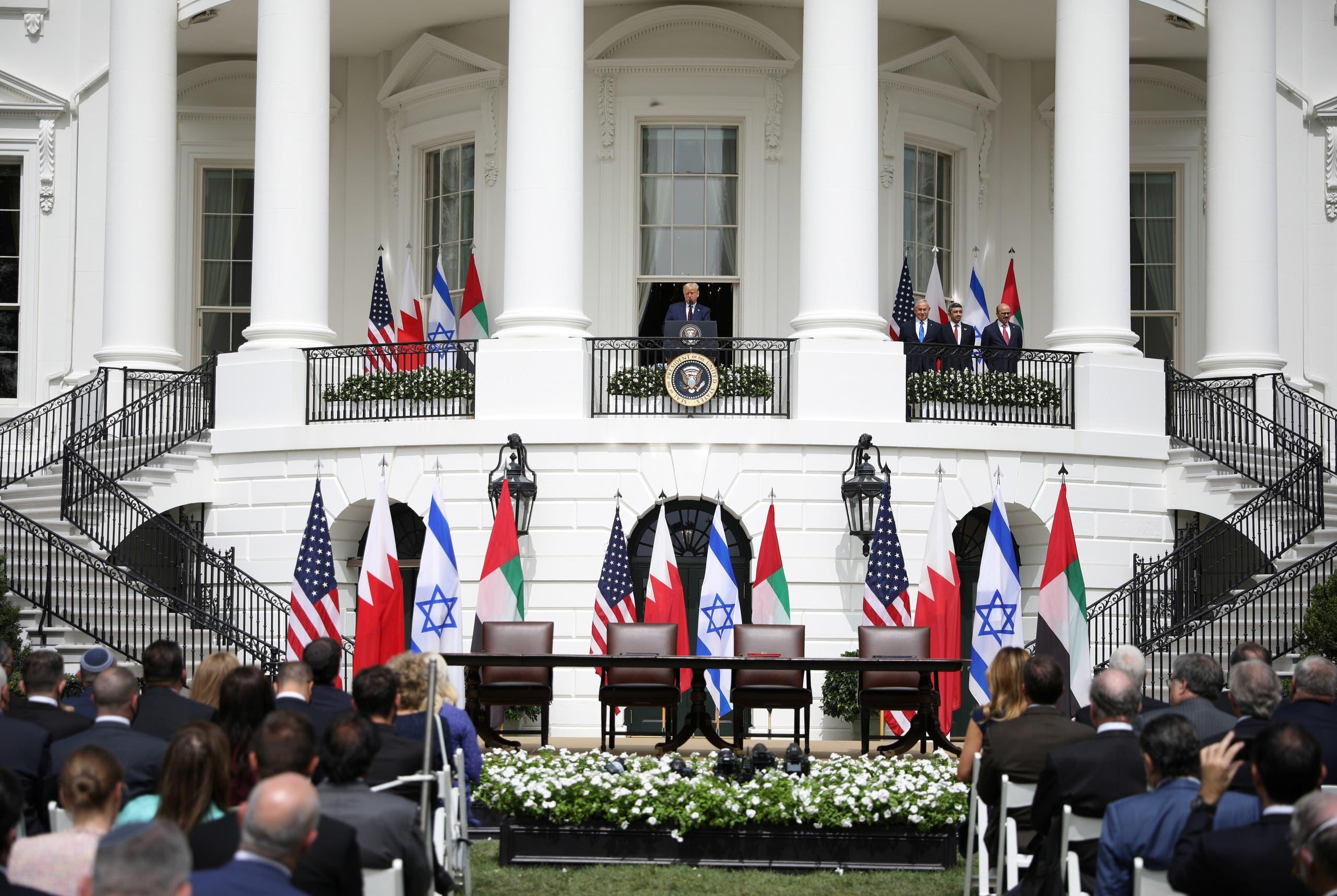 US President Donald Trump speaks as Israeli PM Benjamin Netanyahu, UAE FM Sheikh Abdullah bin Zayed and Bahraini FM Abdullatif Al Zayani in Washington, Sept. 15, 2020. (Reuters)