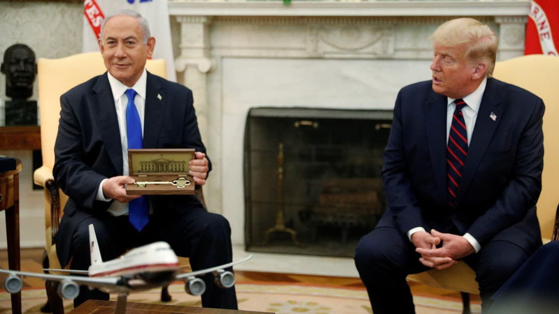 U.S. President Donald Trump speaks as he meets with Israel's Prime Minister Benjamin Netanyahu prior to signing the Abraham Accords, normalizing relations between Israel and some of its Middle East neighbors in a strategic realignment of Middle Eastern countries against Iran, during a meeting in the Oval Office at the White House in Washington, U.S., September 15, 2020. REUTERS/Tom Brenner