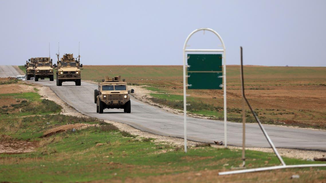 U.S. troops patrol near Turkish border in Hasakah, Syria, November 4, 2018. REUTERS/Rodi Said