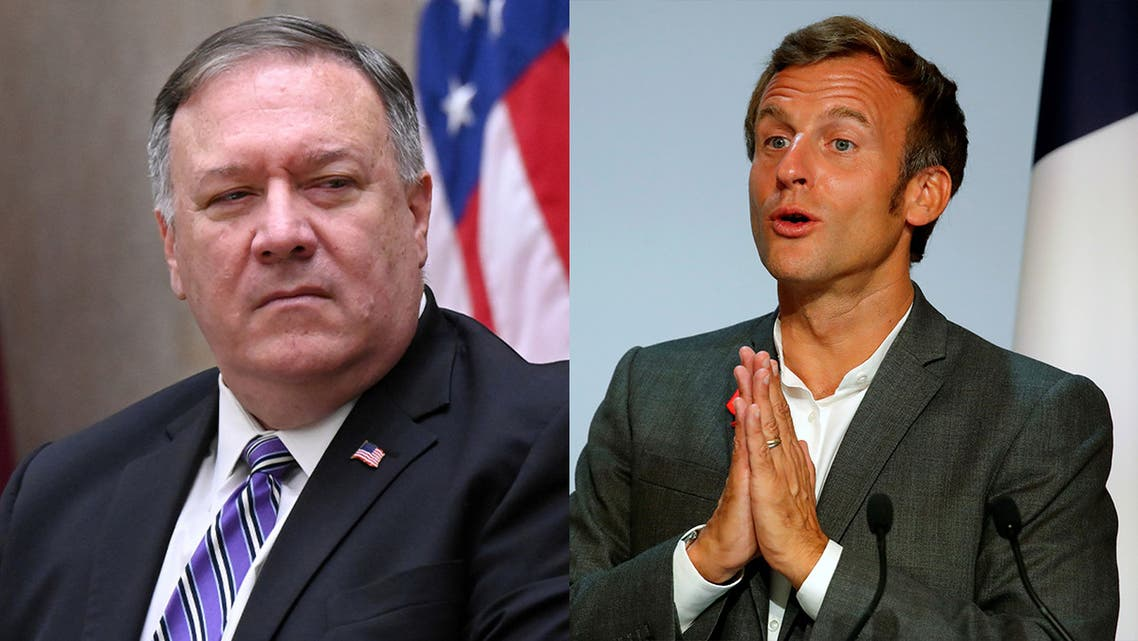 US Secretary of State Mike Pompeo, left, and French President Emmanuel Macron, right.
