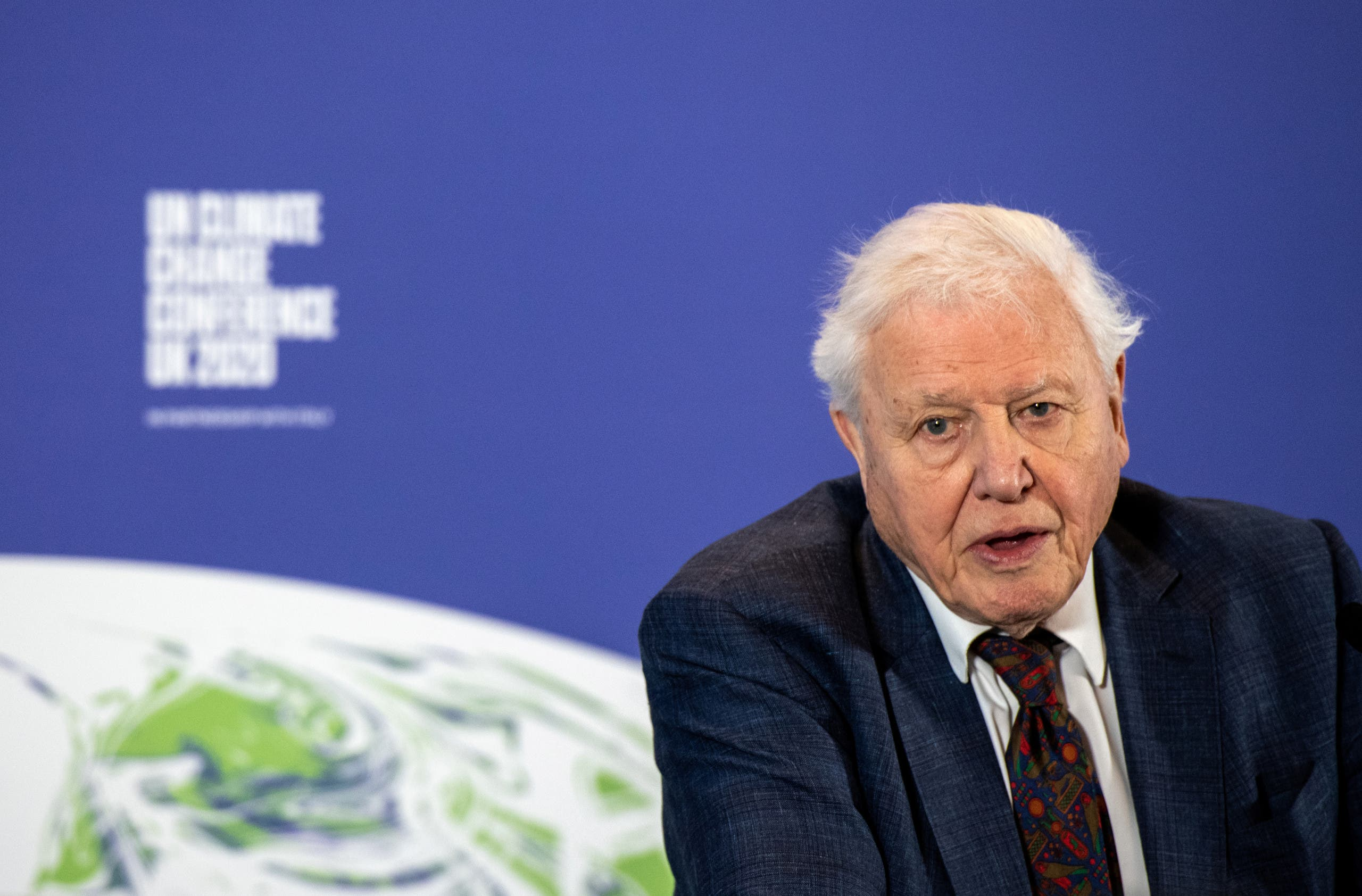 David Attenborough speaks during a conference about the UK-hosted COP26 UN Climate Summit, at the Science Museum in London, Britain February 4, 2020. (Reuters)