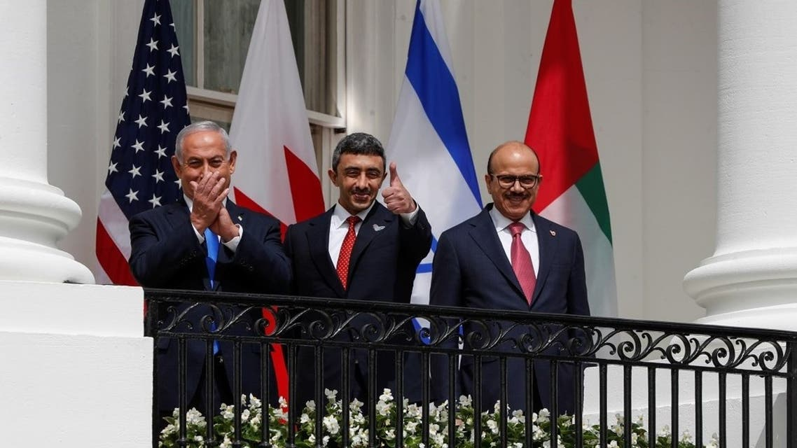 Israel's Prime Minister Benjamin Netanyahu, UAE Foreign Minister Abdullah bin Zayed and Bahrain's Foreign Minister Abdullatif Al Zayani at the White House in Washington, U.S., September 15, 2020. (Reuters)