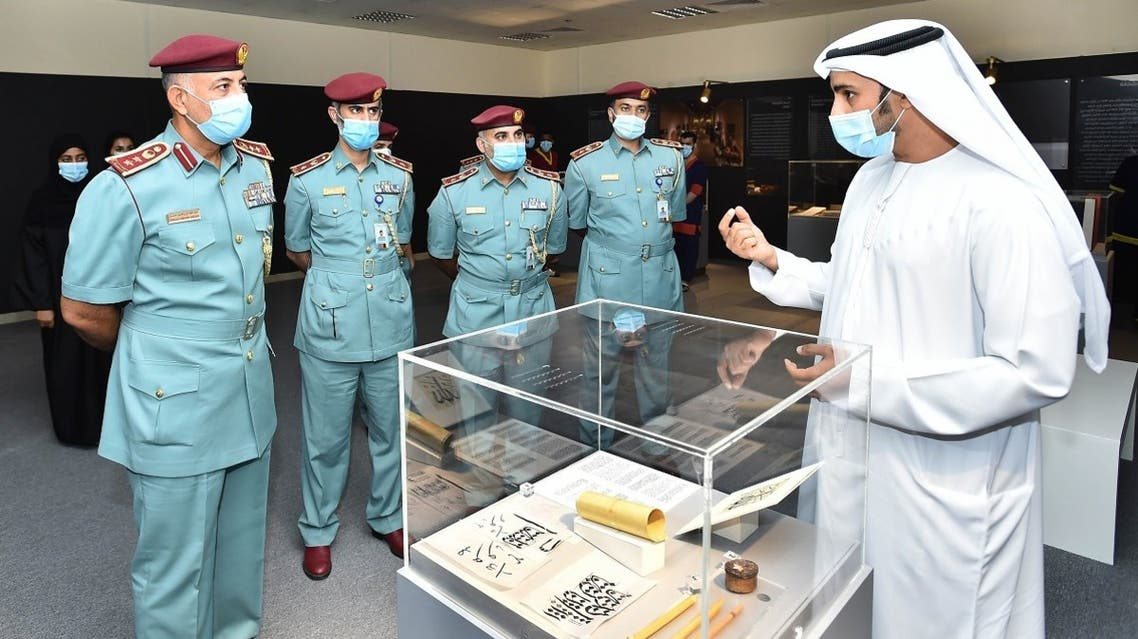 Nasir Al Darmaki. Museums Strategic Planning Department Manager - Sharjah Museums Authority, with Sharjah Police officials. (Courtesy: SMA)