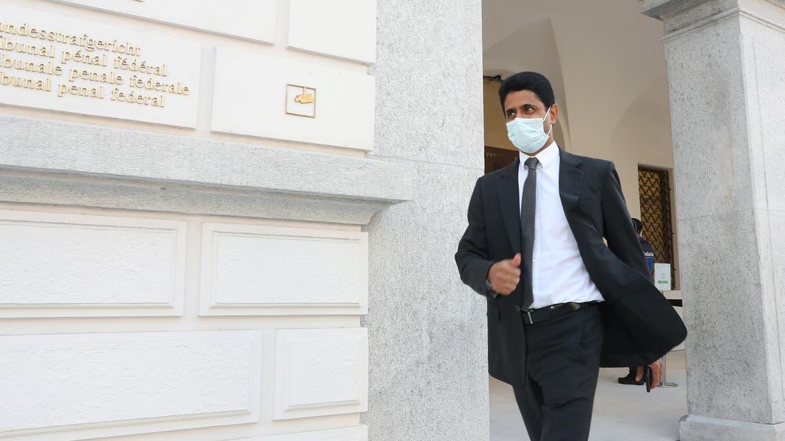 Chairman of Qatar-based media group BeIN Sports, Nasser Al-Khelaifi arrives in front of the Swiss Federal Criminal Court (Bundesstrafgericht) in Bellinzona, Switzerland September 14, 2020. REUTERS/Arnd Wiegmann