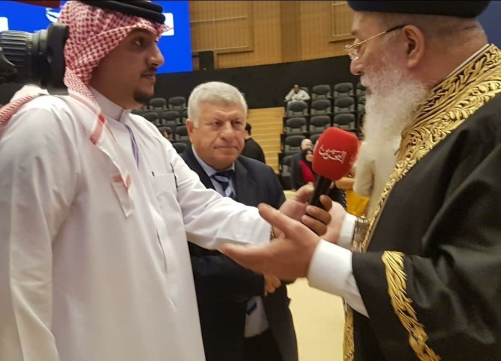 Former Chief Rabbi of Jerusalem Shlomo Amar, during a media interview in Manama, Bahrain, on December 9, 2019. (Twitter)