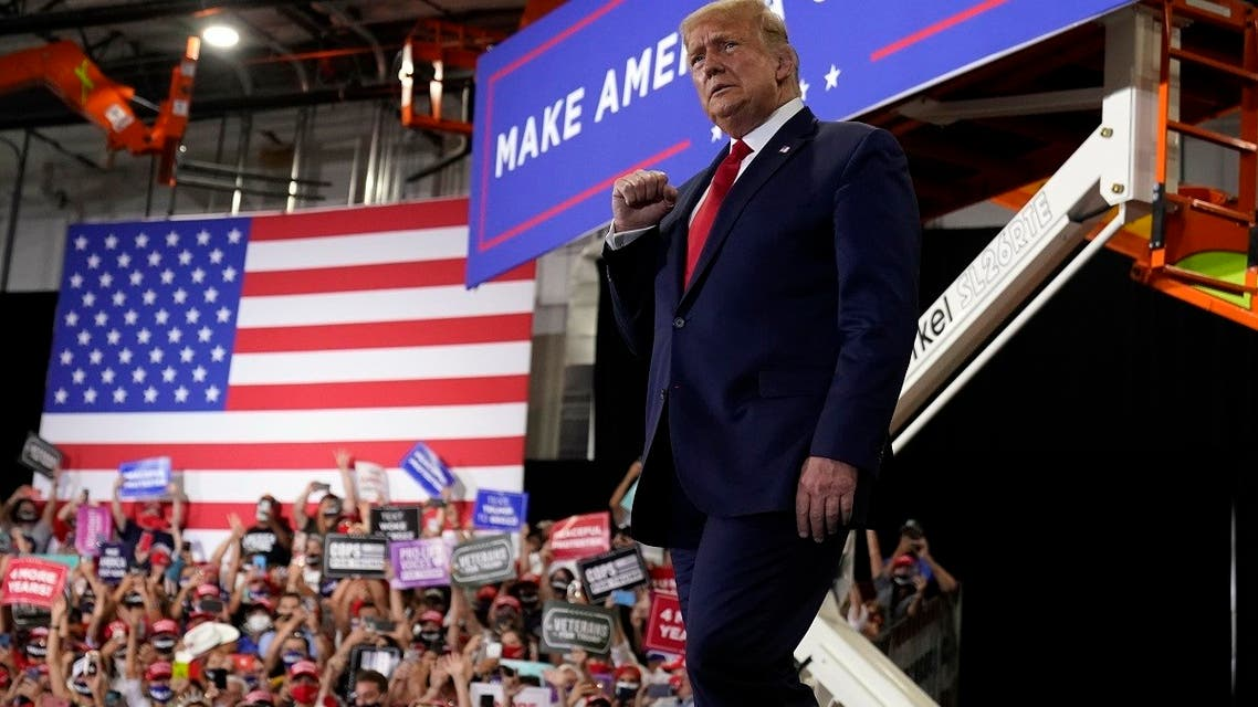 US President Donald Trump arrives to speak at a rally, Sept. 13, 2020, in Henderson, Nevada. (AP)