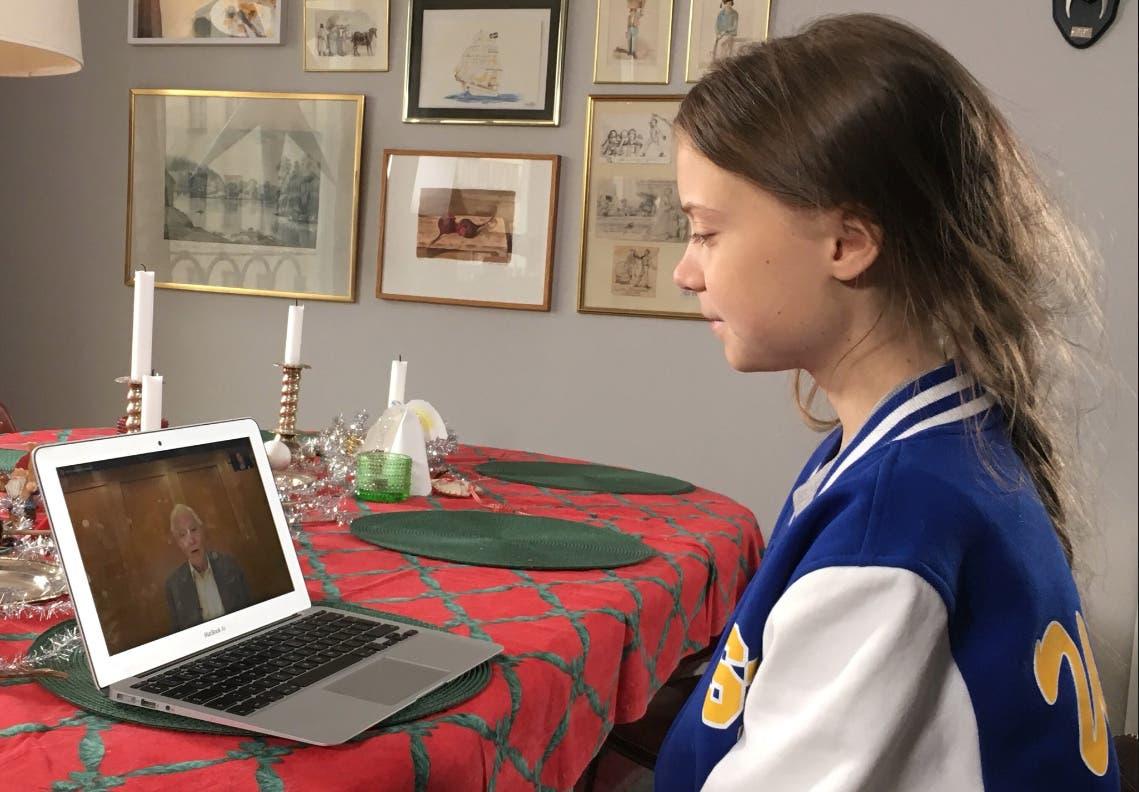 Climate activist Greta Thunberg speaks to David Attenborough via laptop. (Reuters)