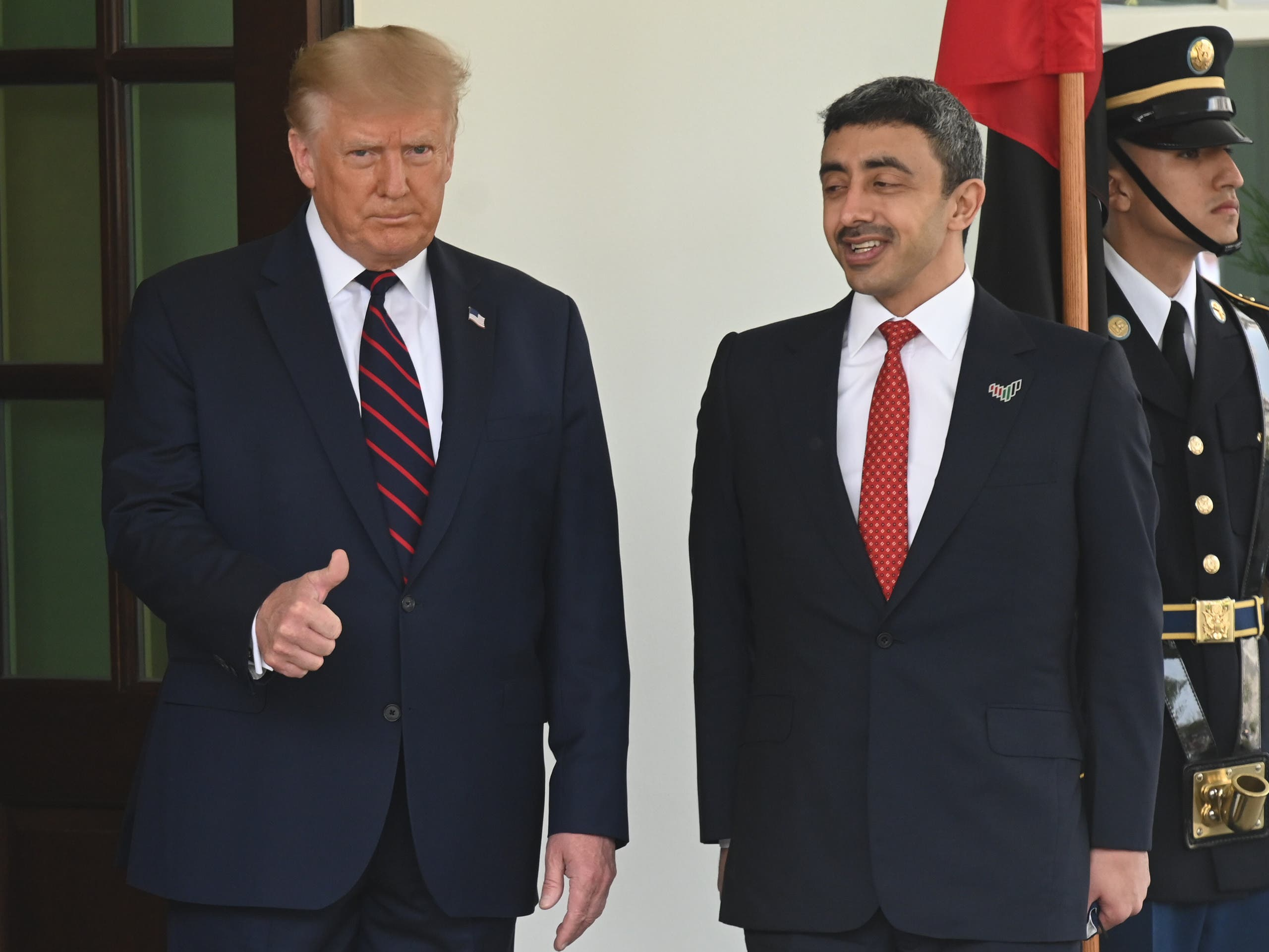 US President Donald Trump and UAE Foreign Minister Sheikh Abdullah bin Zayed Al Nahyan at the White House ahead of the signing.