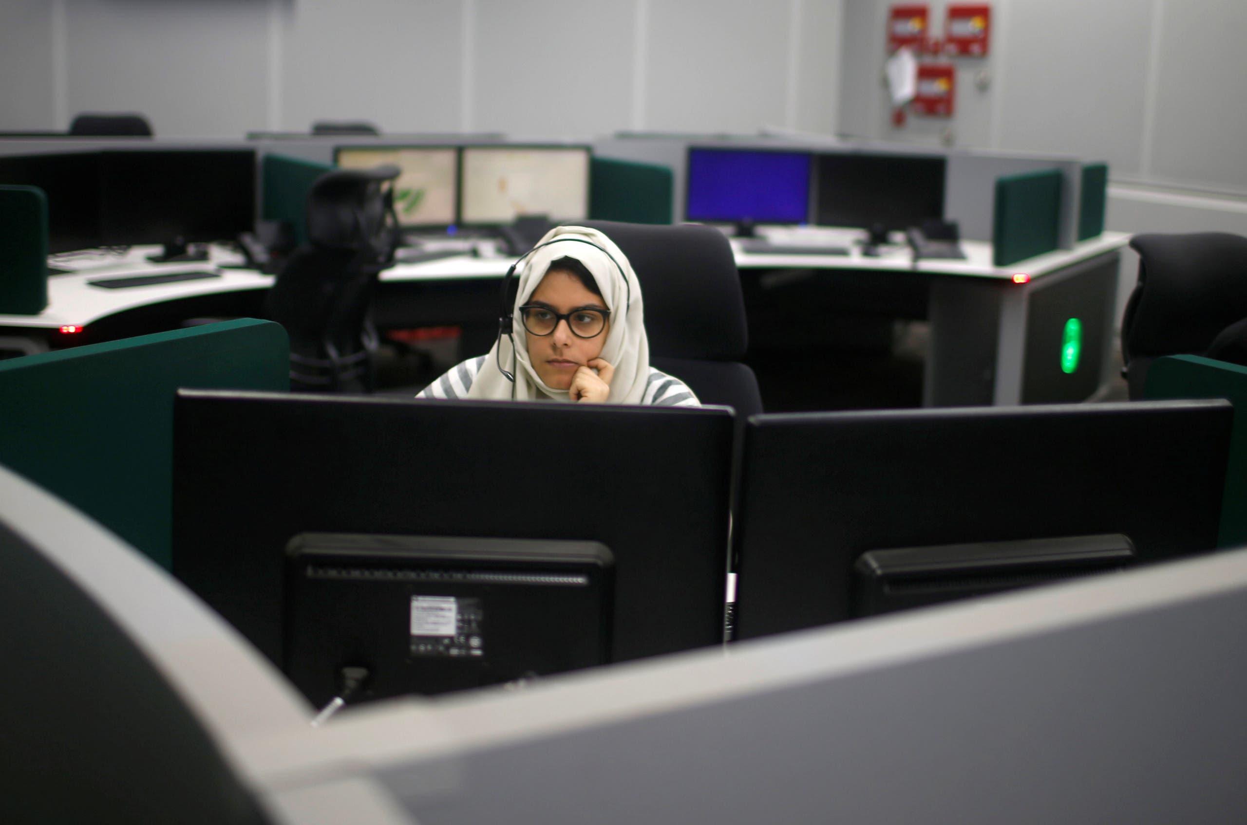 A Saudi Arabian woman works inside a call center in Mecca. (File photo: Reuters)