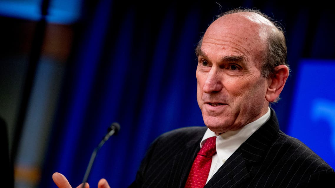 Special Representative for Venezuela Elliott Abrams attends a news conference at the State Department, in Washington, U.S., March 31, 2020. Andrew Harnik/ Pool via REUTERS