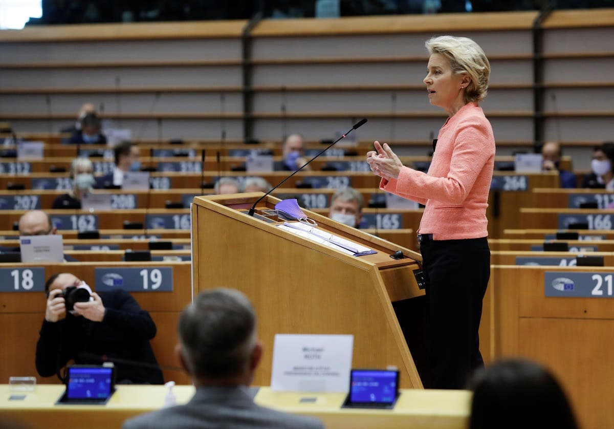 Another view of European Commission President Ursula von der Leyen gives her first State of the Union speech during a plenary session of European Parliament on September 16, 2020. (Reuters)