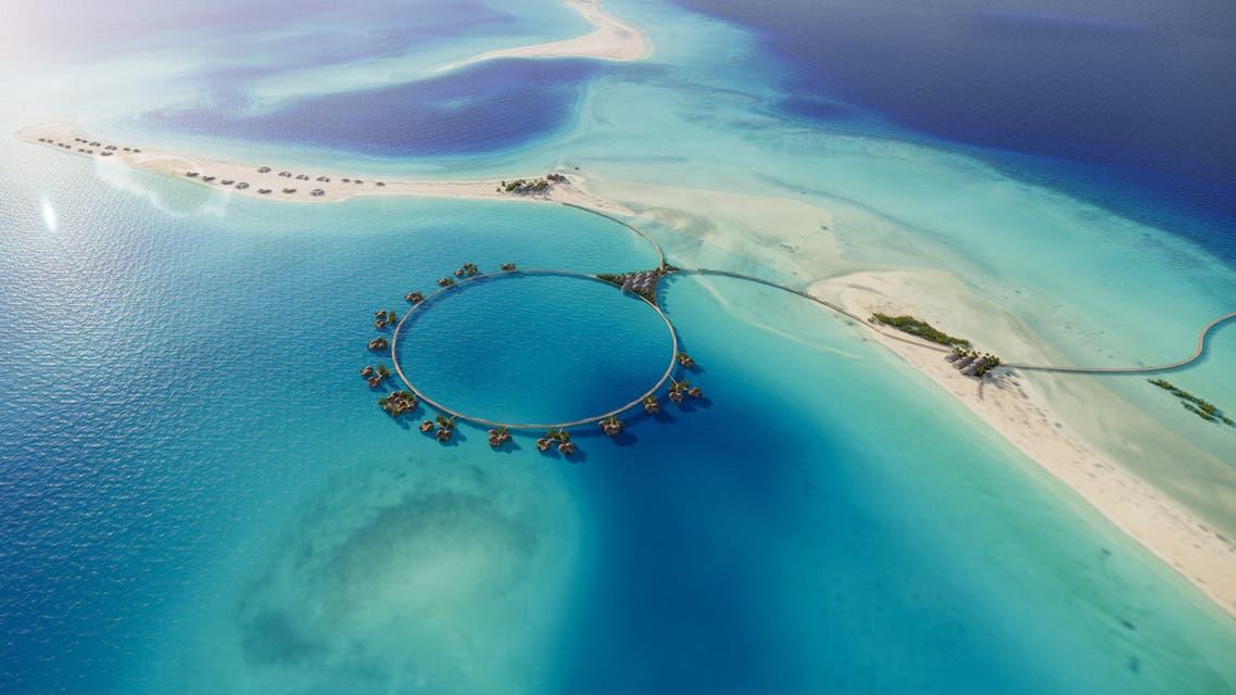 تصور أولي لإحدى جزر مشروع البحر الأحمر بعد الانتهاء من التطوير