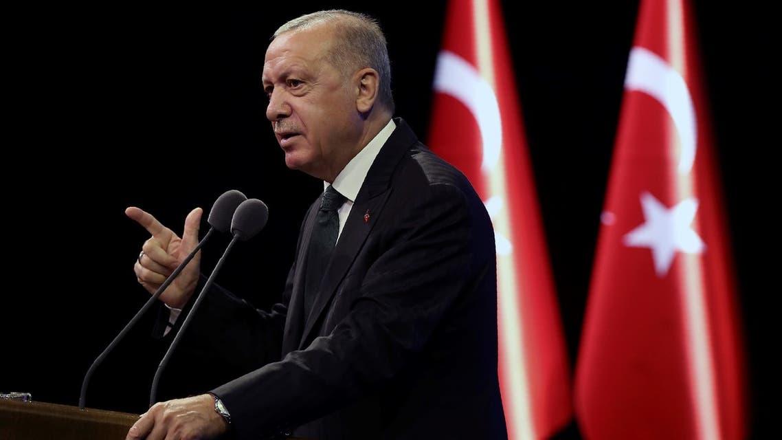 Turkey's President Recep Tayyip Erdogan speaks during a meeting, in Ankara on Sept. 7, 2020. (AP)