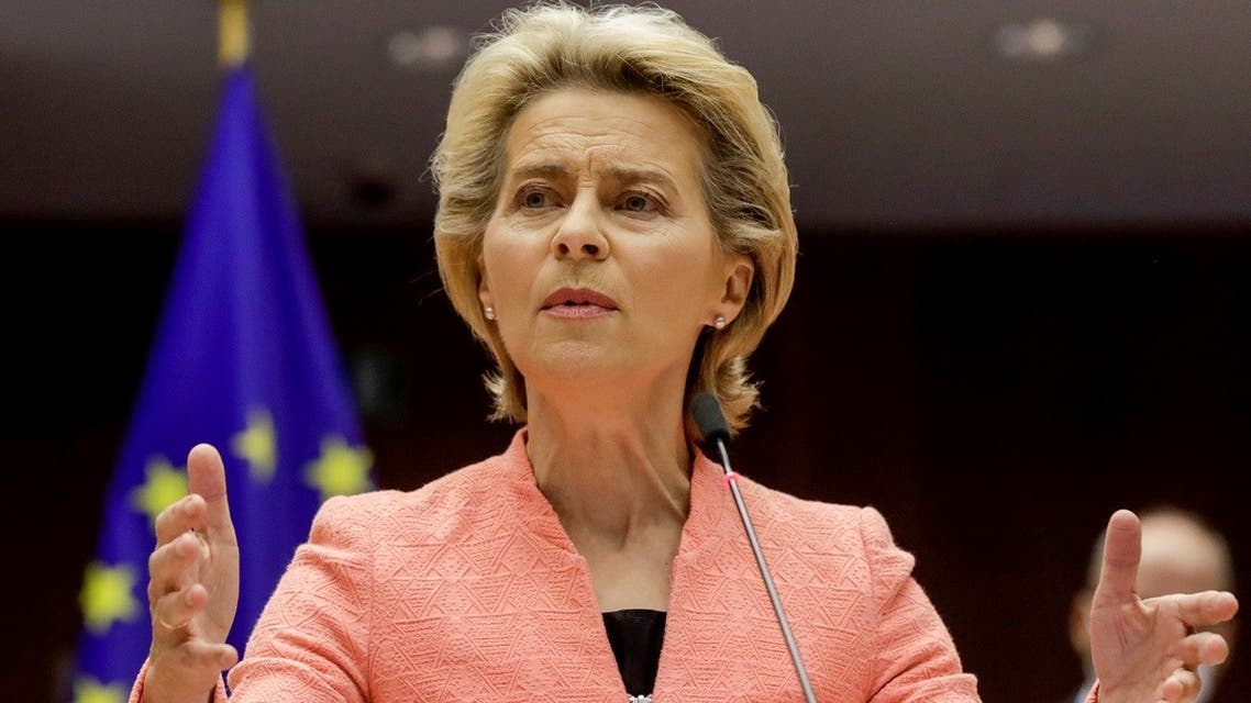 European Commission President Ursula von der Leyen gives her first State of the Union speech during a plenary session of European Parliament in Brussels, Belgium, on September 16, 2020. (Reuters)